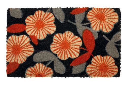 Floral PVC Backed Coir Door Mat