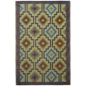 Lhasa Royal Blue and Chocolate Brown Outdoor Rug