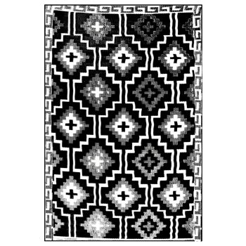 Lhasa Black & Cream Outdoor Rug