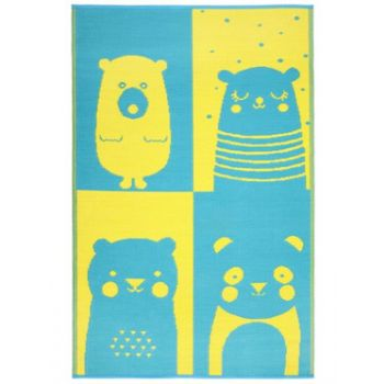 Nika Bear Indoor/Outdoor Kids Rug (Blue & Yellow)