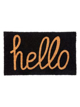 Hello Black PVC Backed Coir Door Mat