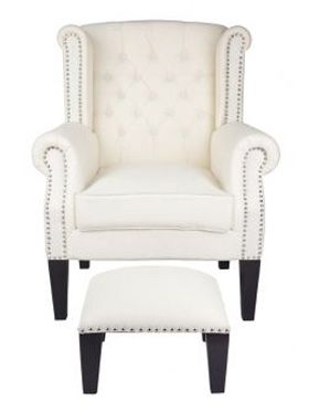 Nash Beige - Uphosltered Chair with Footstool