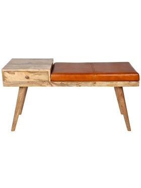 Castor Leather & Wood Bench
