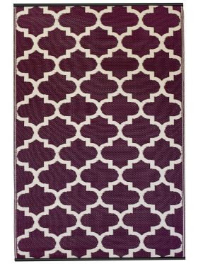 Tangier Plum and White Outdoor Rug
