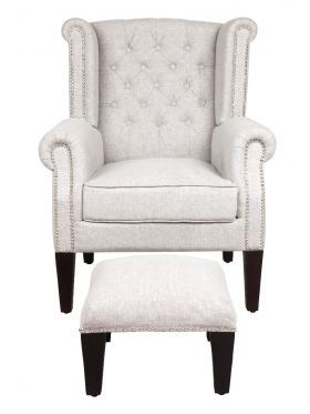 Nash Taupe - Upholstered Chair with Footstool