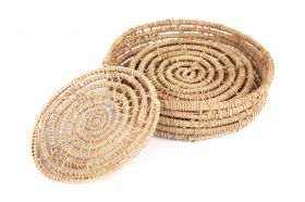 Magpie Palm Fibre Round Coaster (Set Of 4)