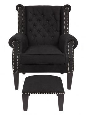 Nash Black - Upholstered Chair with Footstool