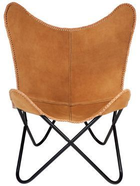 Argus Suede Leather Butterfly Chair