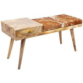 Aurora Hairon Leather & Wood Bench