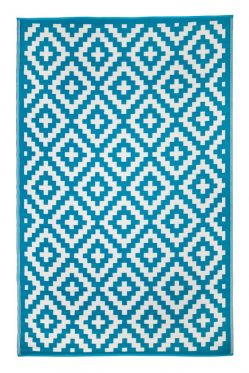 Aztec Teal and White Outdoor Rug