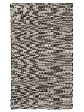 Herringbone Black Indoor Outdoor Rug