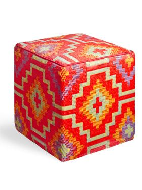 Lhasa Orange & Violet Indoor/Outdoor Ottoman