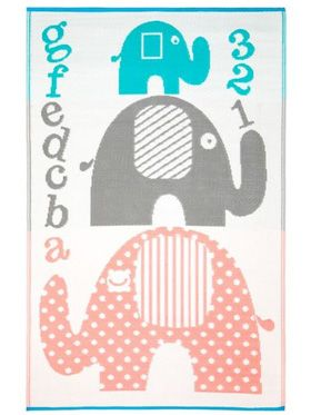 Little Portico's Elephants Indoor/Outdoor Kids Rug