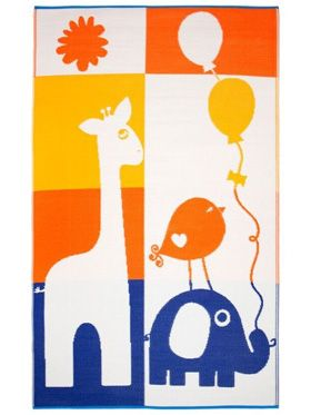 Little Portico's Giraffe and Elephant Indoor/Outdoor Kids Rug