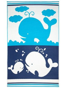 Little Portico's Sea Blue Family Indoor/Outdoor Kids Rug