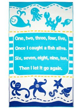 Little Portico's Sea Blue Stripes Indoor/Outdoor Kids Rug