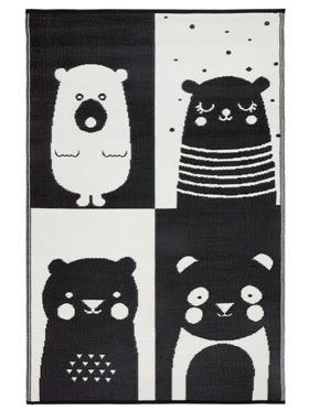 Nika Bear Indoor/Outdoor Kids Rug (Black & White)