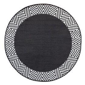 Olympia Black Round Outdoor Rug