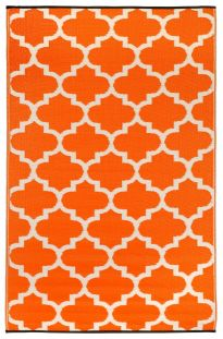 Tangier Carrot and White Outdoor Rug