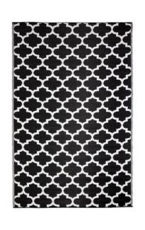Tangier Black and White Outdoor Rug